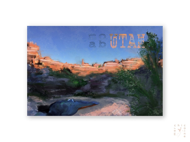 Moab Utah setting nature desert camping utah wildwest location postcard painting logo design typography digitaldesign graphicdesign illustration graphic digitalart