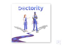 doctority startup simple blue medicine business branding logo doctor webdesign characterdesign character concept graphicdesign digitaldesign illustration graphic