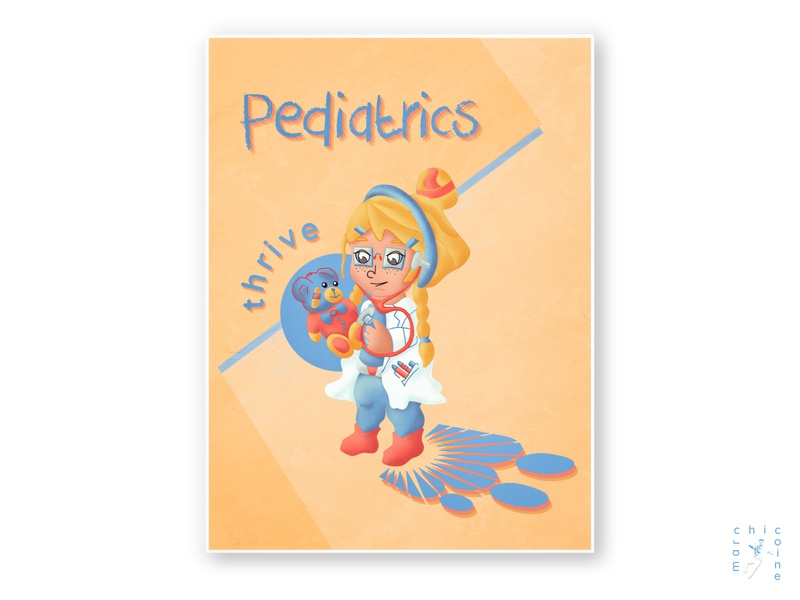 pediatrics thrive logo healthcare thrive cartoon pediatrician pediatrics doctor medical poster characterdesign typography character concept digitalart graphicdesign digitaldesign illustration graphic