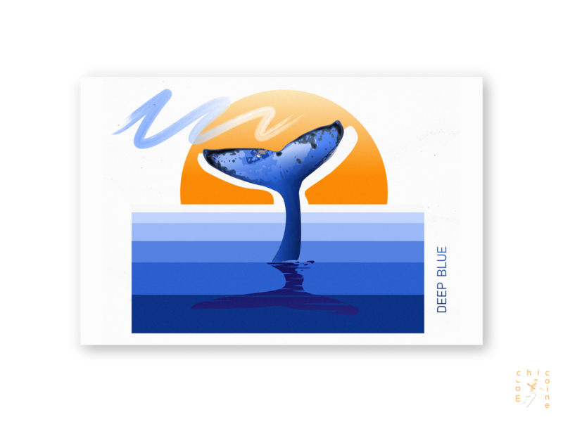 deep blue aesthetic gradient soft vaporwave wavy nature illustration poster art postcard ocean whale nature typography poster abstract concept digitalart graphicdesign graphic digitaldesign illustration