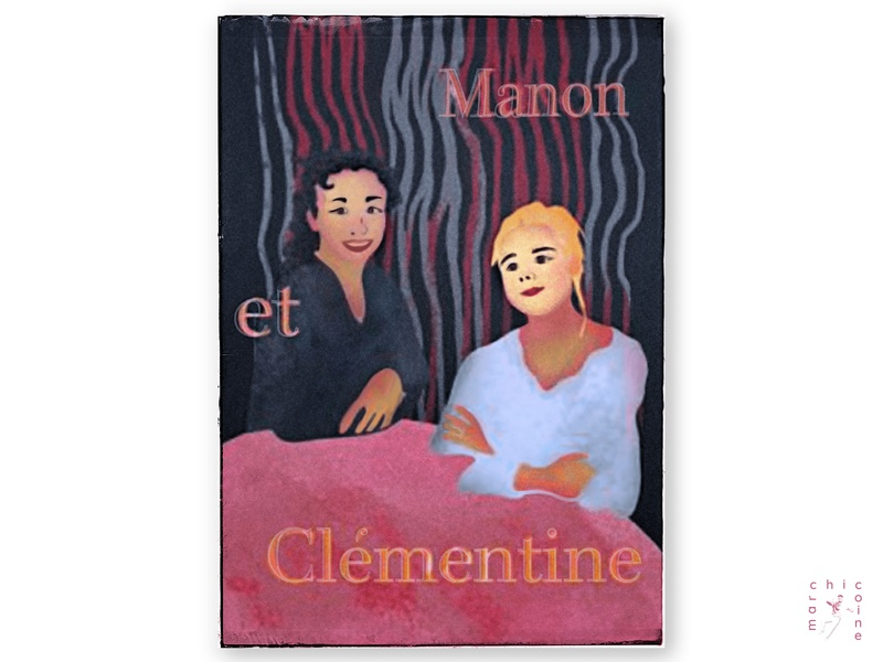 manon et clementine concept graphic painting poster design digitalart stylized typography character graphicdesign illustration art french artnouveau characterdesign poster illustration