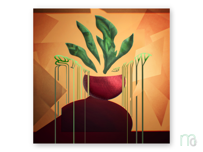Grow Slow albumcover plantgrowth graphicillustration melt typography motif repetition pattern growth plant fern shapes poster abstract concept digitalart graphic digitaldesign illustration graphicdesign