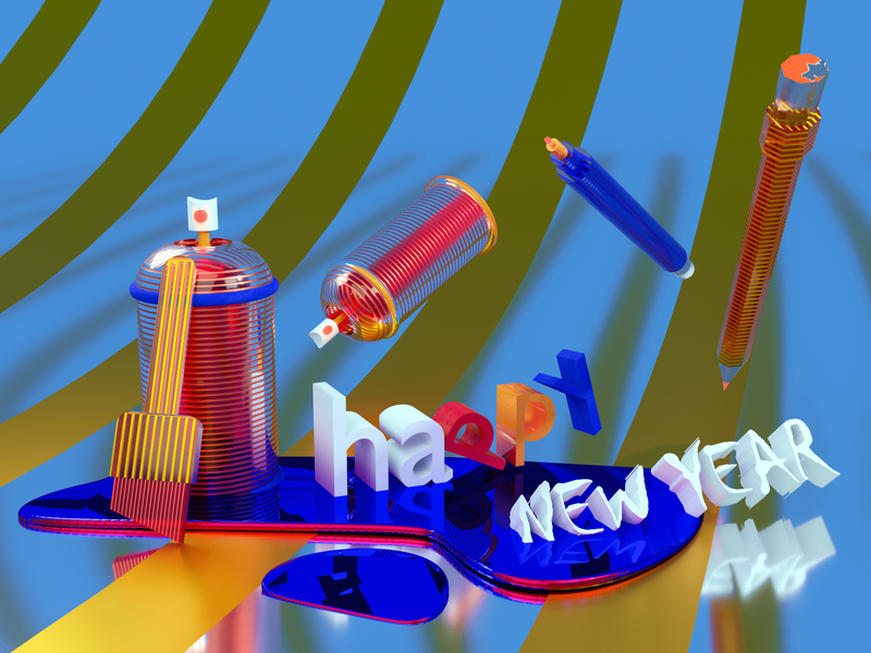 To a creative New Year! painting 3d art dribbbleweeklywarmup new year blender3d blender 3d typography graphic illustration graphicdesign digitalart