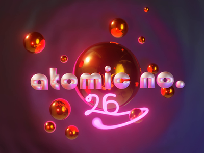 atomic number 26 (iron) logo concept eevee neon blender b3d 3d animation 3d art elements periodic table animated type typography art animation illustration