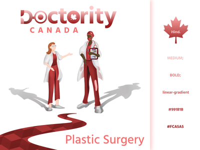 Doctority Canada typography brand graphicdesign hospital red branding branddesign logodesigns podcast art podcast surgeon doctor medicine medical illustration logodesign logo icon mapleleaf canada