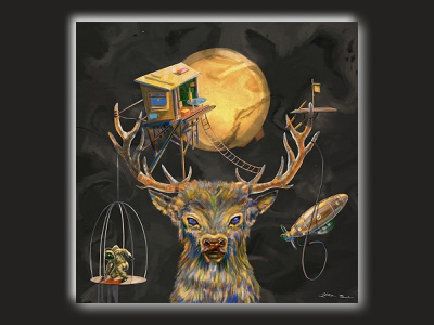 the oldest nightwalker painting princess mononoke miyazaki dreams deer procreate illustration surreal art surrealism surreal dreamscape