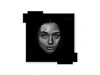 Poker Face digitalpainting painting blocks serious blackandwhite digitalart graphic illustration face woman portraitart realism geometric abstract shapes constructivism motion graphics graphic design portrait animation