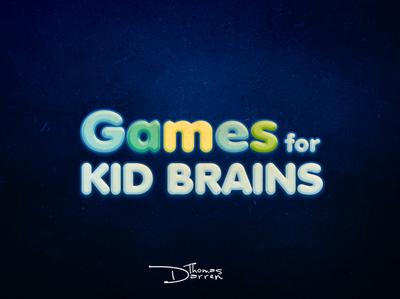 Games For Kid Brains text logo brain kid games