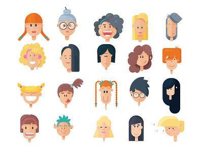 Faces mobilegames indiegame game art character design flat illustration faces flatdesign vector illustration