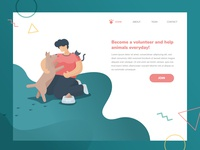 Flat style vector illustration. Become a volunter, help animals!