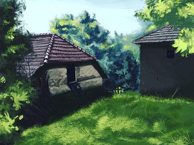 My grandfathers Hobbiton... photoshop digitalart illustration