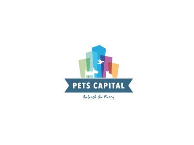 Pets Capital Logo logo colour color tranparency pets buildings dog cat bird skyline city