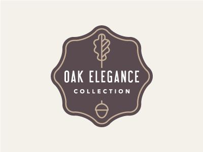 Oak Elegance logo branding brown gold oak leaf acorn label furniture