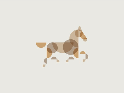 Horse new logo horse stained glass colour multiply brown gold cream branding abstract