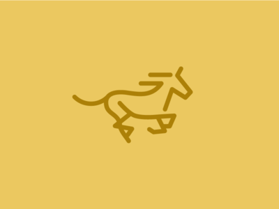 Unused Horse abstract branding gold line gallop horse logo