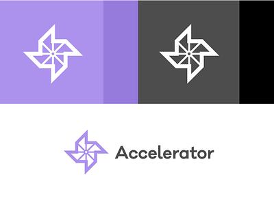 Accelerator speed pinwheel accelerator purple logo