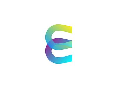 E colourful horseshoe geometric e overlay branding icon mark logo