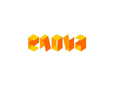 Enova geometric orange enova branding logotype logo