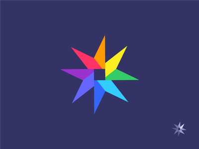 Compass Star colourful abstract geometric star compass branding icon mark logo