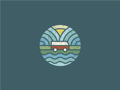 Camper Van colourful roundel sea mountains landscape abstract geometric campervan branding icon mark logo