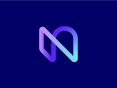 N gradient geometric abstract blue identity branding monogram n stroke gradient mark logo