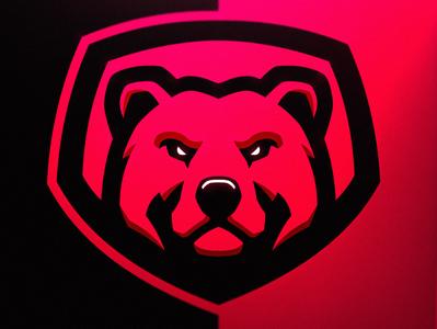 Bear Logo Shield variation animal sportslogo esportslogo logodesign mascot drawing illustration brand grizzly red design gaming bear logo vector esports sports logos logo bear bears