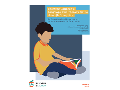 Draft cover for an educational brief cover literacy reading nonprofit education illustration