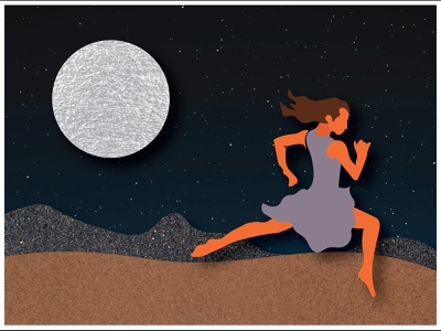 Song for Zula indie rock running dancing desert moon illustration