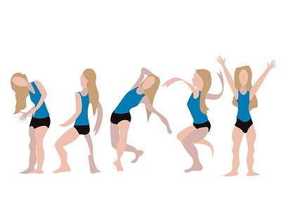 Dancer study movement figures figure study woman female dance dancer work in progress