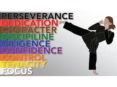 Karate Qualities illustration black belt woman illustration martial arts woman karate