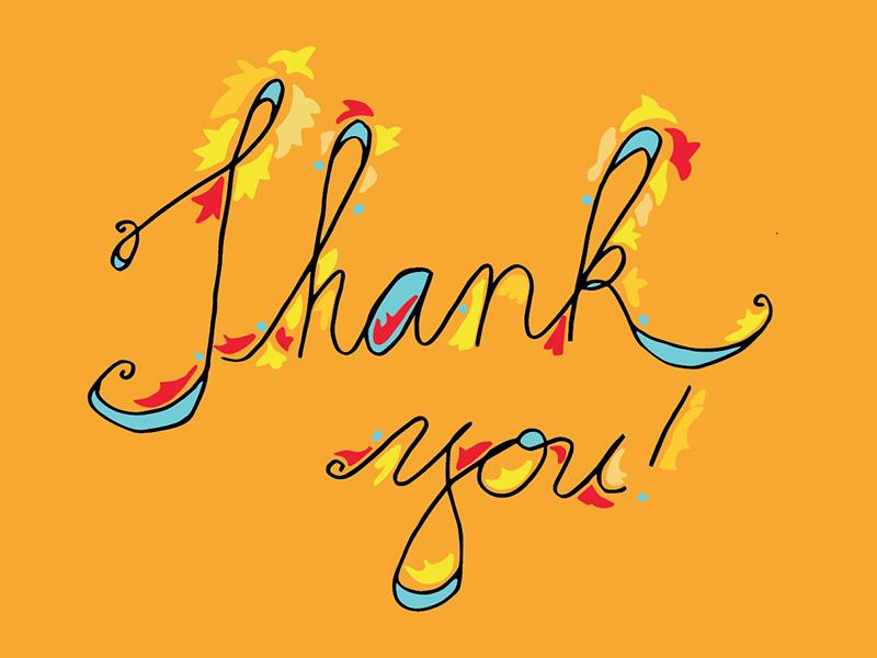 Thank you! thank you handwriting hand lettering sentiment greetings orange script cursive