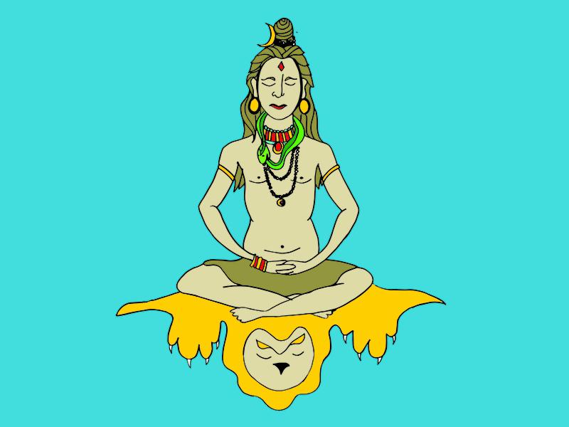 Shiva exercise drawing vector illustration god shiva