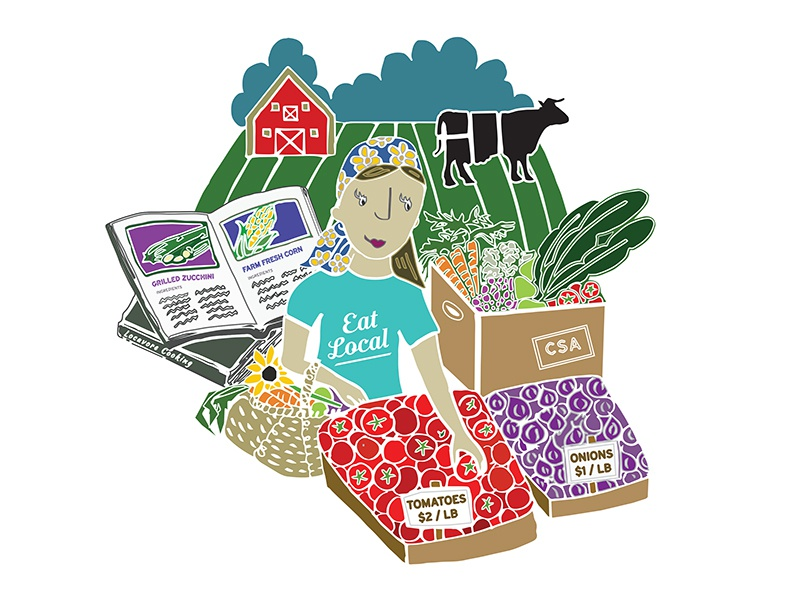 """""""Eat Local"""" Illustration for Edible Philly local food edible philly vegetables farm illustration phily locavore"""