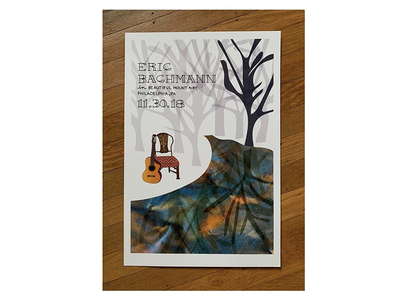 Eric Bachmann poster philadelphia hand lettering lettering mixed media concerts indie rock rock n roll woods trees chair creek nature guitar illustration concert poster concert