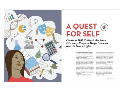 Quest for Self college higher education woman drawing layout magazine design illustration