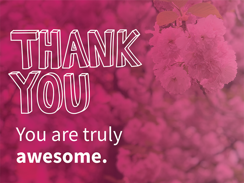 Thank you. You are truly awesome. gratitude thanks pink flowers handwriting handlettering thank you