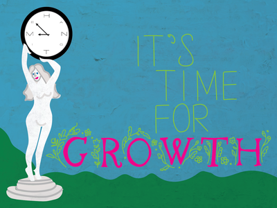 Time For Growth - SuperFriendly Hang Time Scholarship Entry clock lettering growth statue handlettering handlettered garden statue garden scholarship hangtime