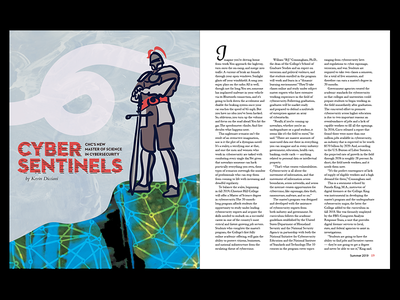 Cyber Sentinels mixed media editorial design magazine data knight drawing illustration cybersecurity