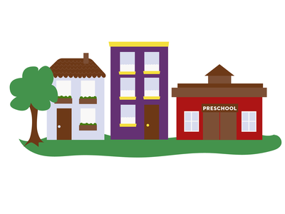 Community neighborhood buildings illustration preschool community