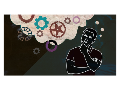Thinking Across Boundaries person thought wheels gears illustration