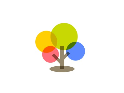 Tree spring transparent mark tree luminous logo colorful illustration illumination light