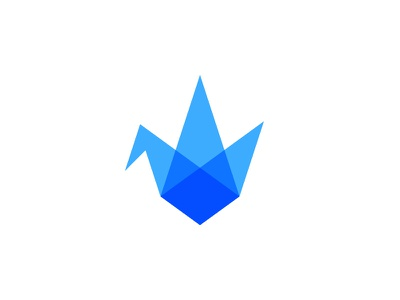 Crane mark blue cool wing transparent paper bird origami crane logo