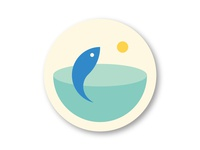Fish water sun logo sea ocean fish coaster