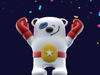 Vicory Panda cute fluffy fat weekly challenge confetti panda render challenge weekend victory punch muscle belt smile win c4dart cartoon 3d