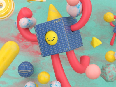 Abstract Design design illustration 3dart cute pink cyan random challenge weekend weekly render cinema4d spheres cube 3d