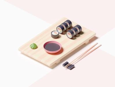 Sushi Breakfast challenge weekend blender 3d blender3d bowl pink chopsticks plate wooden soy sauce soy sushi wasabi minimal clean smooth blendercycles render blender lowpoly
