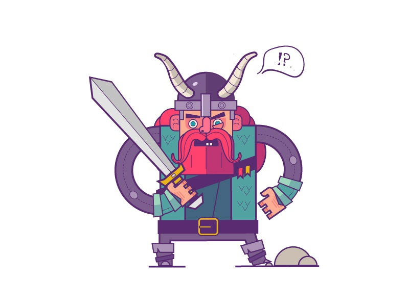The Viking colorful art line flat 2d question confusion confused sword cartoon viking