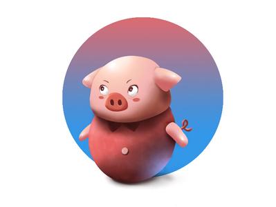 Mini Pig mini art digital painting paint beginner gloss shiny pink blue piggy pig minimal cute cute animal cartoon photoshop illustrator design illustration 2d