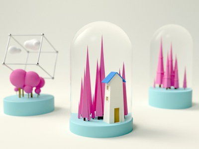 Abstract House clean cloud silver hourglass candy home house 3d artist forest pine cube cage sphere cone cyan pink c4d 3d art 3d cartoon