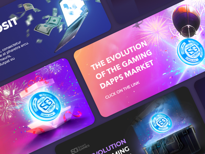 Web banner | Crypto game platform effects design blockchain graphic webbanner color crypto